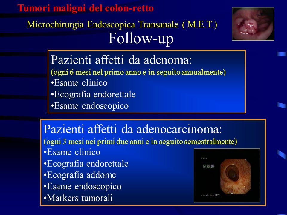 Follow-up Pazienti affetti da adenoma: (ogni 6 mesi nel primo anno e in seguito annualmente) Esame clinico Ecografia endorettale Esame endoscopico Paz