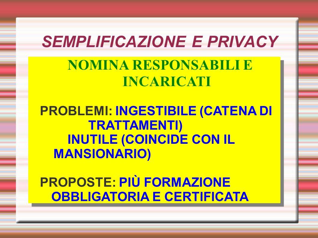 SEMPLIFICAZIONE E PRIVACY NOMINA RESPONSABILI E INCARICATI PROBLEMI: INGESTIBILE (CATENA DI TRATTAMENTI) INUTILE (COINCIDE CON IL MANSIONARIO) PROPOSTE: PIÙ FORMAZIONE OBBLIGATORIA E CERTIFICATA NOMINA RESPONSABILI E INCARICATI PROBLEMI: INGESTIBILE (CATENA DI TRATTAMENTI) INUTILE (COINCIDE CON IL MANSIONARIO) PROPOSTE: PIÙ FORMAZIONE OBBLIGATORIA E CERTIFICATA