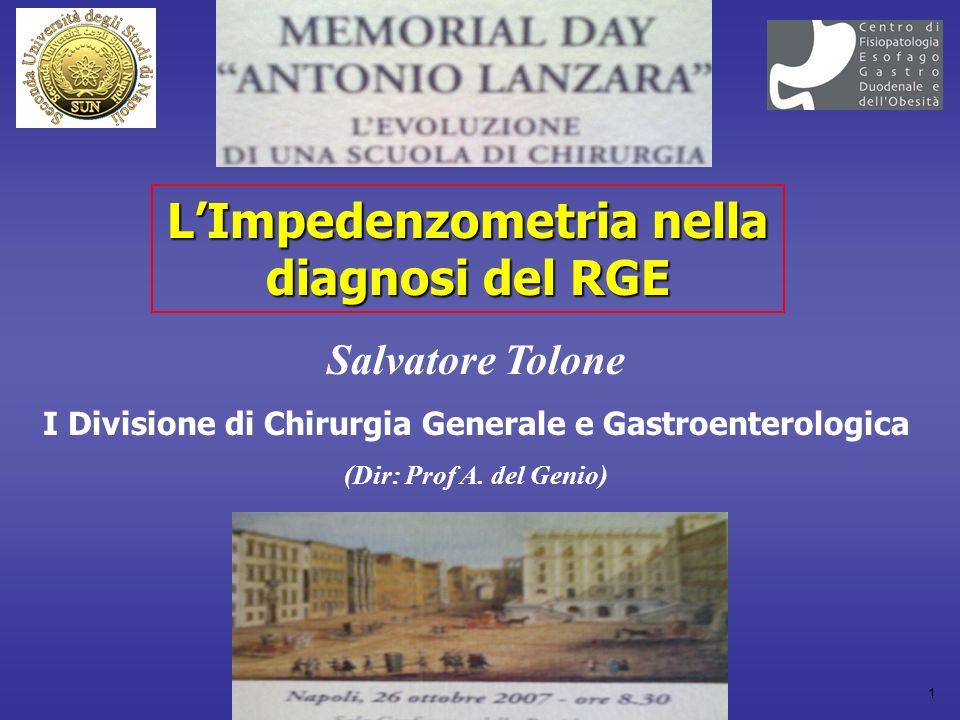 1 LImpedenzometria nella diagnosi del RGE Salvatore Tolone I Divisione di Chirurgia Generale e Gastroenterologica (Dir: Prof A.