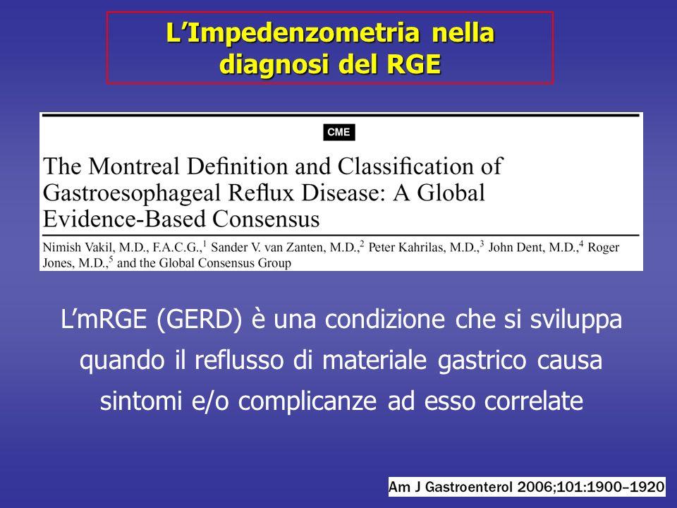 LImpedenzometria nella diagnosi del RGE LmRGE (GERD) è una condizione che si sviluppa quando il reflusso di materiale gastrico causa sintomi e/o complicanze ad esso correlate