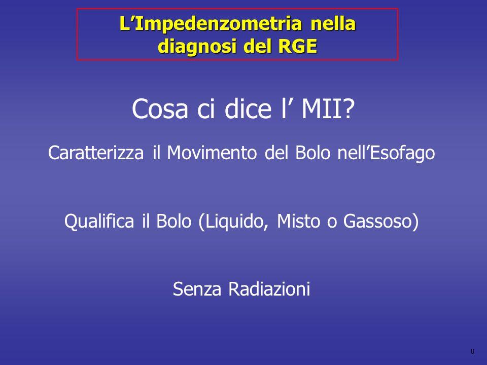 8 Cosa ci dice l MII? Caratterizza il Movimento del Bolo nellEsofago Qualifica il Bolo (Liquido, Misto o Gassoso) Senza Radiazioni LImpedenzometria ne