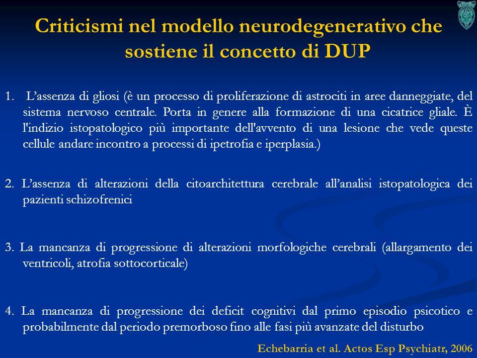 Criticismi nel modello neurodegenerativo che sostiene il concetto di DUP 1. Lassenza di gliosi (è un processo di proliferazione di astrociti in aree d