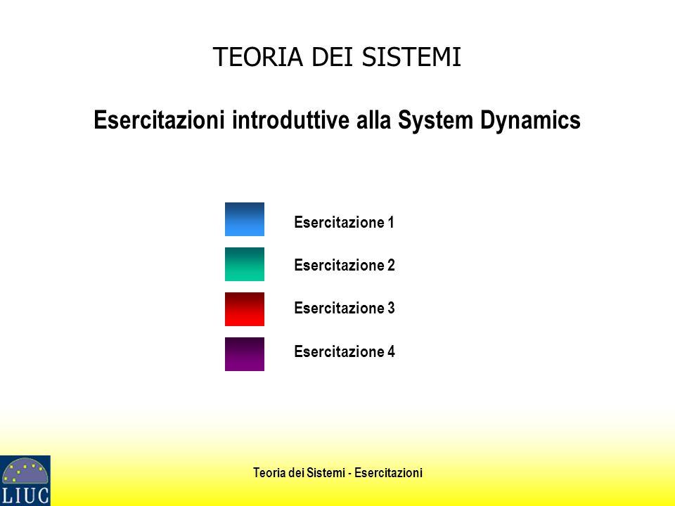 Teoria dei Sistemi - Esercitazioni TEORIA DEI SISTEMI Esercitazioni introduttive alla System Dynamics Esercitazione 1 Esercitazione 2 Esercitazione 3 Esercitazione 4