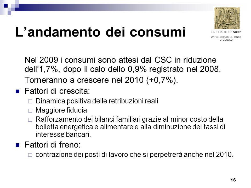 16 Landamento dei consumi Nel 2009 i consumi sono attesi dal CSC in riduzione dell1,7%, dopo il calo dello 0,9% registrato nel 2008. Torneranno a cres