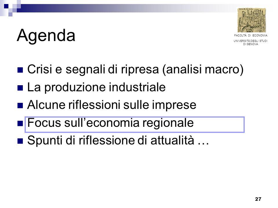 27 Agenda Crisi e segnali di ripresa (analisi macro) La produzione industriale Alcune riflessioni sulle imprese Focus sulleconomia regionale Spunti di