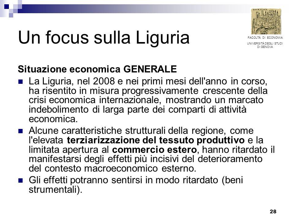 28 Un focus sulla Liguria Situazione economica GENERALE La Liguria, nel 2008 e nei primi mesi dell anno in corso, ha risentito in misura progressivamente crescente della crisi economica internazionale, mostrando un marcato indebolimento di larga parte dei comparti di attività economica.