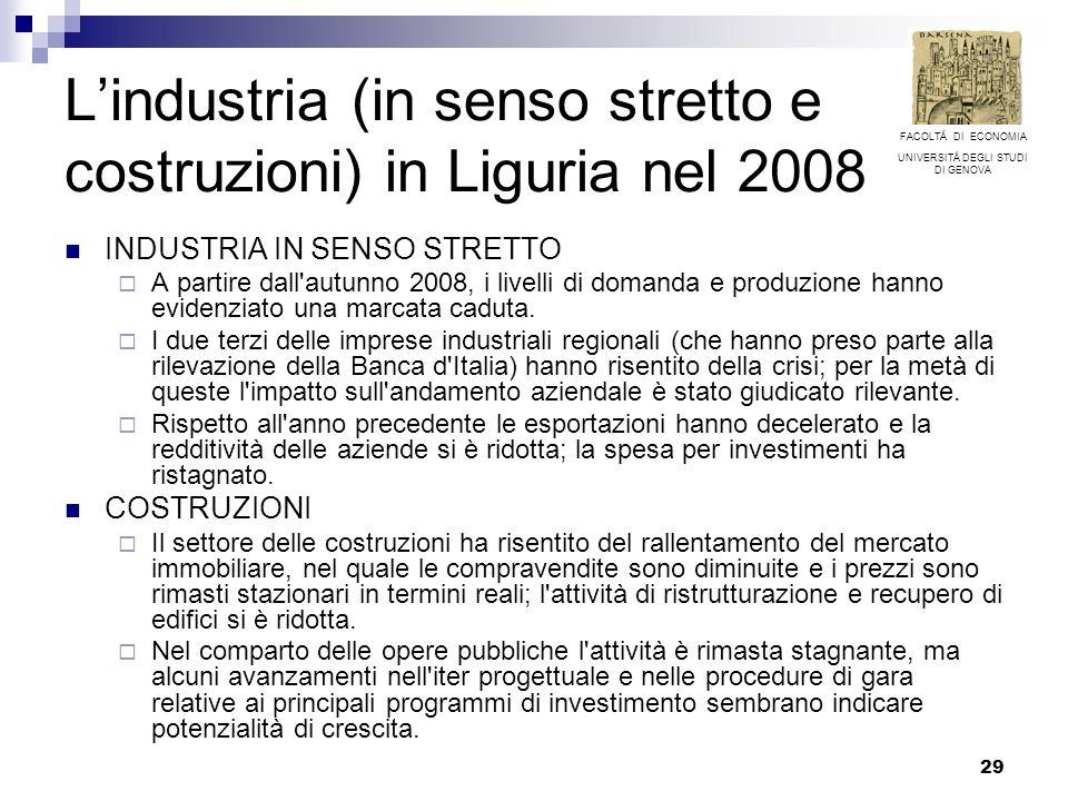29 Lindustria (in senso stretto e costruzioni) in Liguria nel 2008 INDUSTRIA IN SENSO STRETTO A partire dall'autunno 2008, i livelli di domanda e prod
