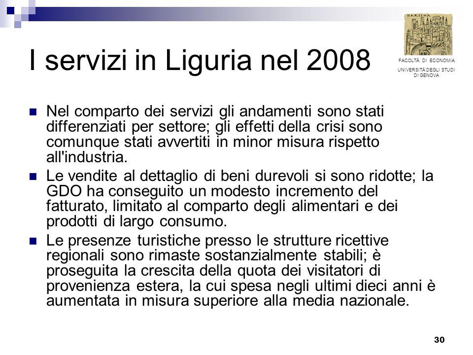 30 I servizi in Liguria nel 2008 Nel comparto dei servizi gli andamenti sono stati differenziati per settore; gli effetti della crisi sono comunque stati avvertiti in minor misura rispetto all industria.