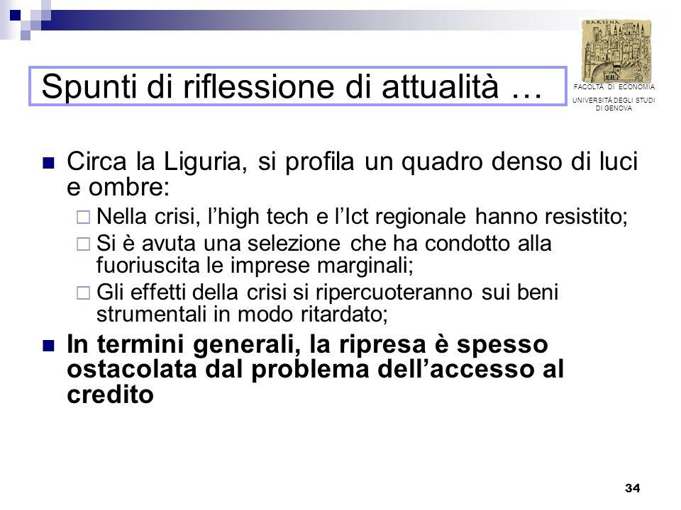 34 Spunti di riflessione di attualità … Circa la Liguria, si profila un quadro denso di luci e ombre: Nella crisi, lhigh tech e lIct regionale hanno resistito; Si è avuta una selezione che ha condotto alla fuoriuscita le imprese marginali; Gli effetti della crisi si ripercuoteranno sui beni strumentali in modo ritardato; In termini generali, la ripresa è spesso ostacolata dal problema dellaccesso al credito FACOLTÁ DI ECONOMIA UNIVERSITÁ DEGLI STUDI DI GENOVA