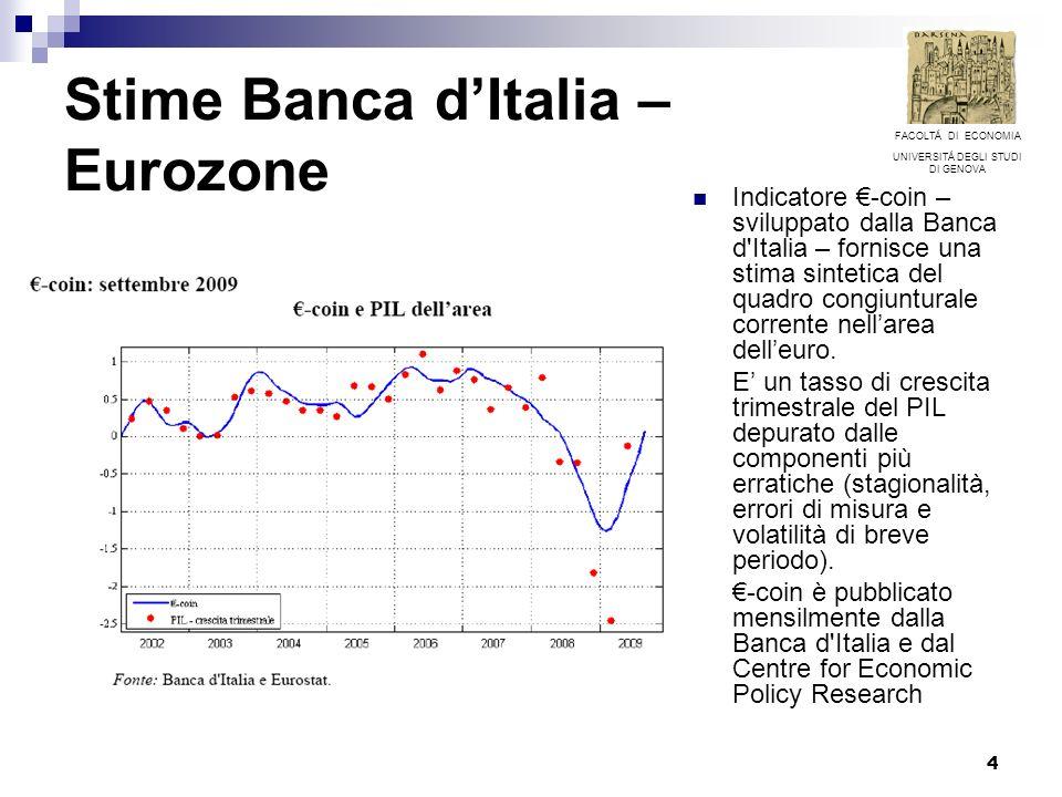 4 Stime Banca dItalia – Eurozone Indicatore -coin – sviluppato dalla Banca d'Italia – fornisce una stima sintetica del quadro congiunturale corrente n