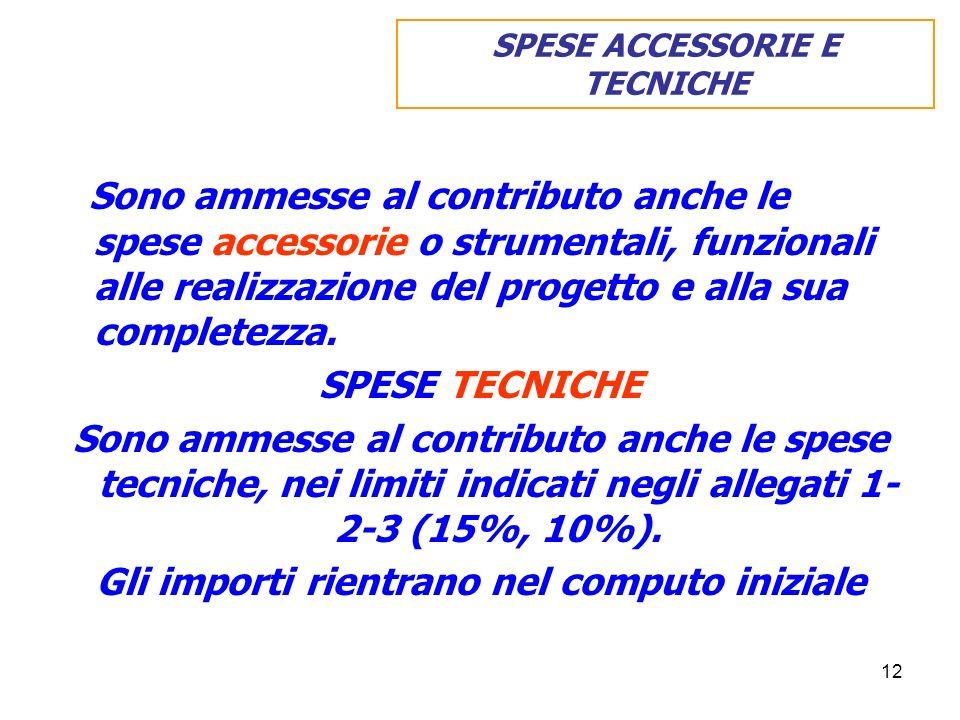 12 Sono ammesse al contributo anche le spese accessorie o strumentali, funzionali alle realizzazione del progetto e alla sua completezza. SPESE TECNIC