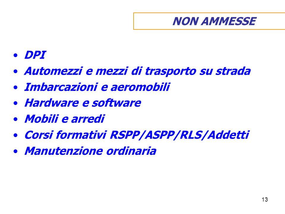 13 DPI Automezzi e mezzi di trasporto su strada Imbarcazioni e aeromobili Hardware e software Mobili e arredi Corsi formativi RSPP/ASPP/RLS/Addetti Manutenzione ordinaria NON AMMESSE