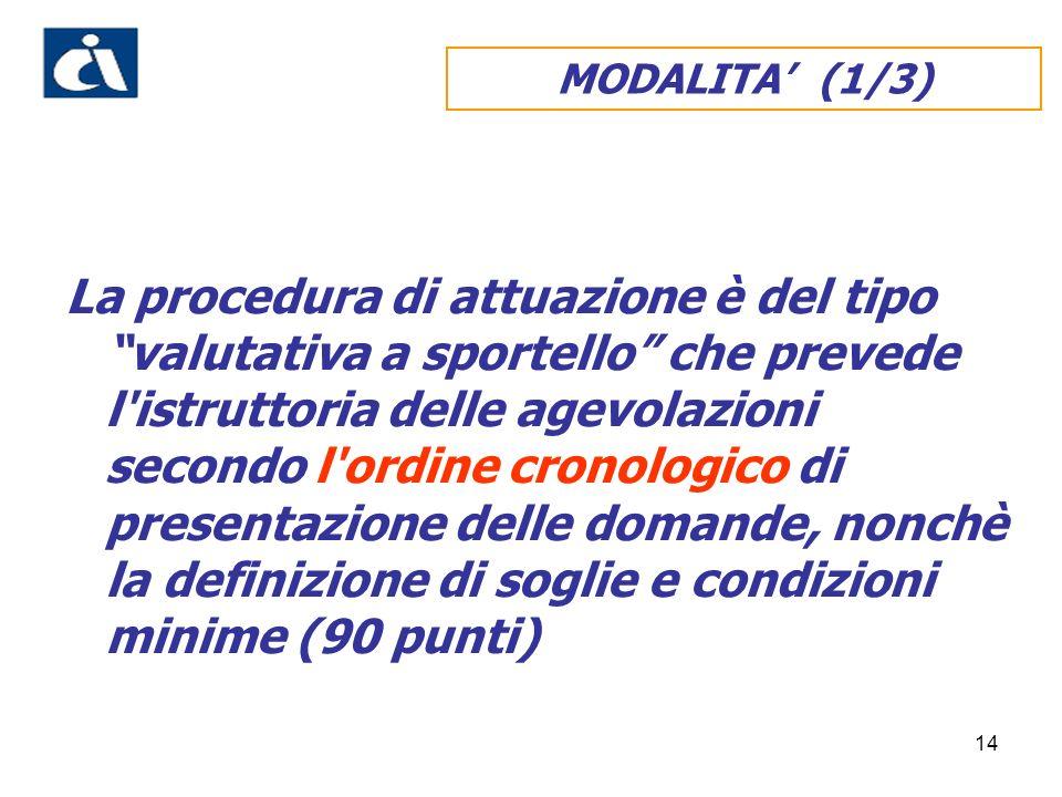 14 MODALITA (1/3) La procedura di attuazione è del tipo valutativa a sportello che prevede l istruttoria delle agevolazioni secondo l ordine cronologico di presentazione delle domande, nonchè la definizione di soglie e condizioni minime (90 punti)
