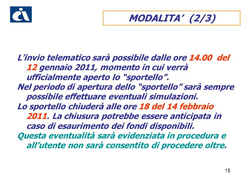 15 MODALITA (2/3) Linvio telematico sarà possibile dalle ore 14.00 del 12 gennaio 2011, momento in cui verrà ufficialmente aperto lo sportello. Nel pe