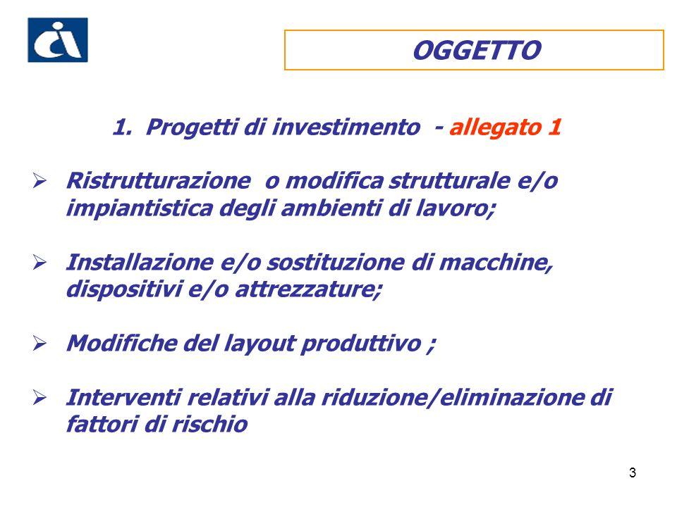 3 OGGETTO 1.Progetti di investimento - allegato 1 Ristrutturazione o modifica strutturale e/o impiantistica degli ambienti di lavoro; Installazione e/o sostituzione di macchine, dispositivi e/o attrezzature; Modifiche del layout produttivo ; Interventi relativi alla riduzione/eliminazione di fattori di rischio