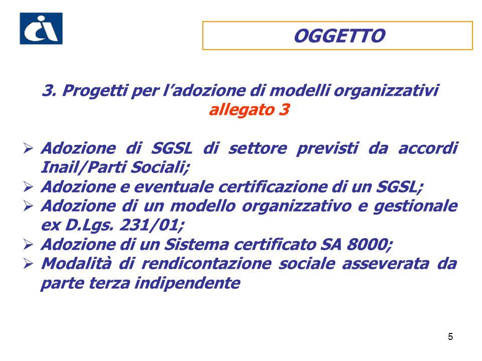 5 3. Progetti per ladozione di modelli organizzativi allegato 3 Adozione di SGSL di settore previsti da accordi Inail/Parti Sociali; Adozione e eventu