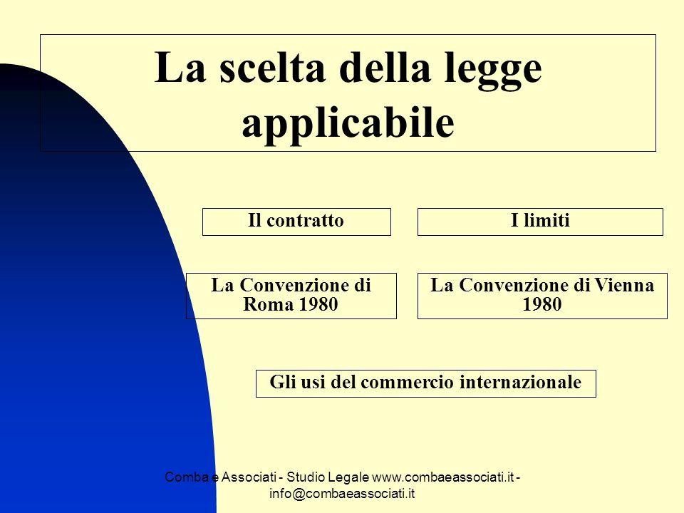 Comba e Associati - Studio Legale www.combaeassociati.it - info@combaeassociati.it La scelta della legge applicabile Il contrattoI limiti La Convenzio