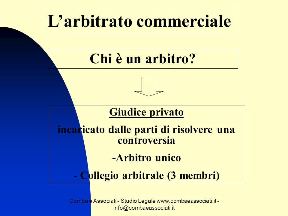 Comba e Associati - Studio Legale www.combaeassociati.it - info@combaeassociati.it Larbitrato commerciale Chi è un arbitro? Giudice privato incaricato