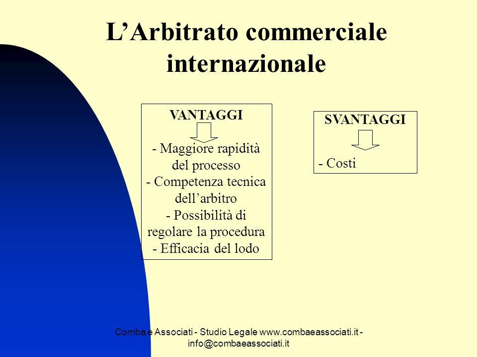Comba e Associati - Studio Legale www.combaeassociati.it - info@combaeassociati.it LArbitrato commerciale internazionale VANTAGGI - Maggiore rapidità