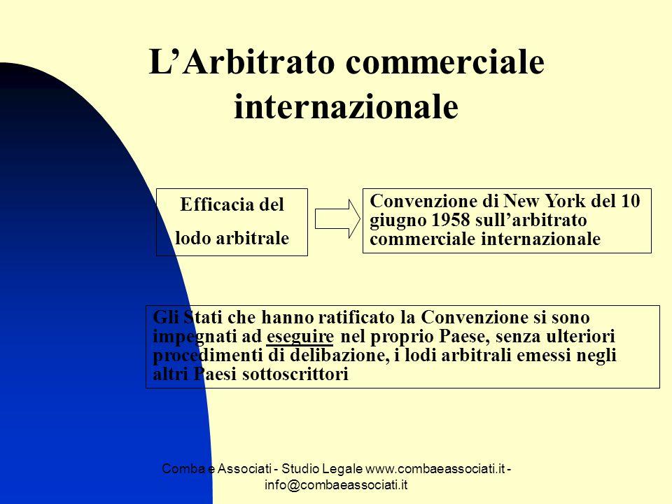 Comba e Associati - Studio Legale www.combaeassociati.it - info@combaeassociati.it LArbitrato commerciale internazionale Efficacia del lodo arbitrale