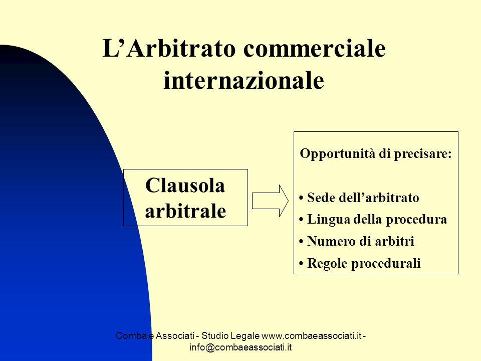 Comba e Associati - Studio Legale www.combaeassociati.it - info@combaeassociati.it LArbitrato commerciale internazionale Clausola arbitrale Opportunit