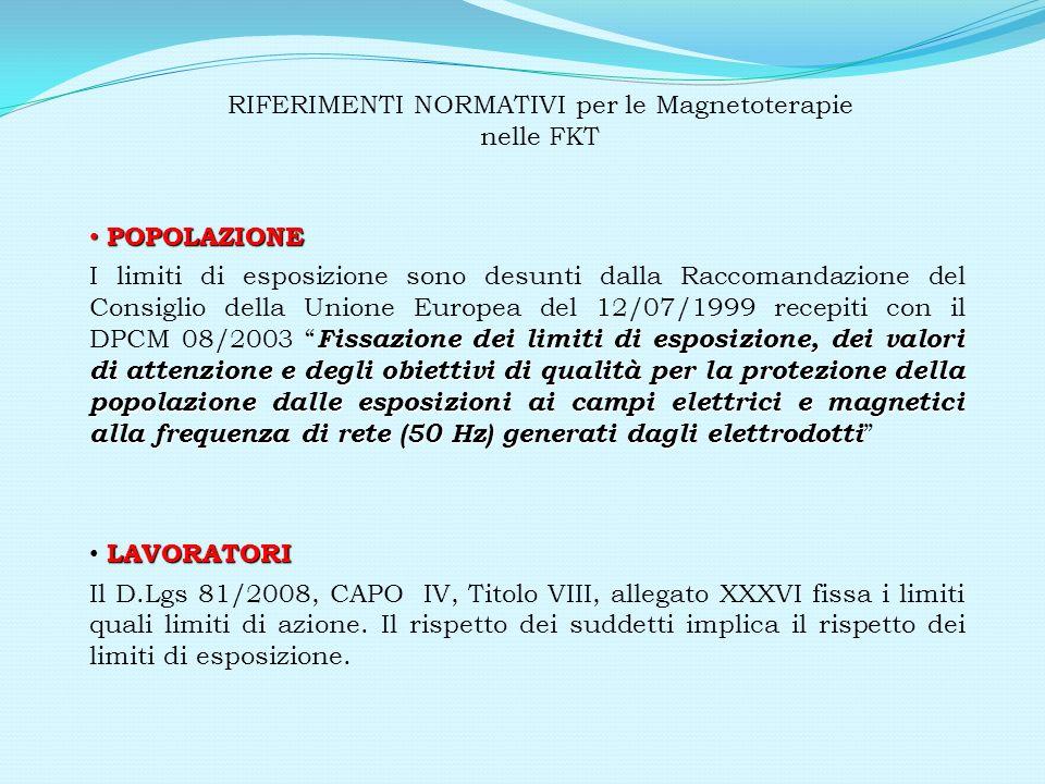 RIFERIMENTI NORMATIVI per le Magnetoterapie nelle FKT Campo elettricoCampo magnetico lavoratori10kV/m0,5 mT popolazione5kV/m0,1 mT