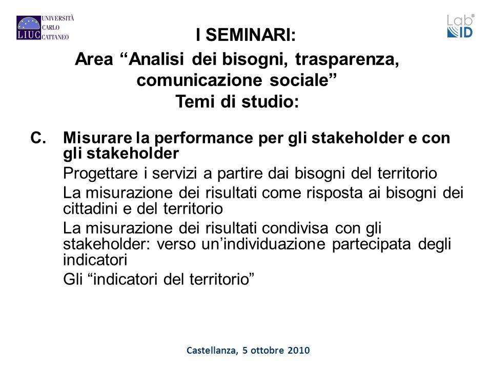 Castellanza, 5 ottobre 2010 I SEMINARI: C.Misurare la performance per gli stakeholder e con gli stakeholder Progettare i servizi a partire dai bisogni