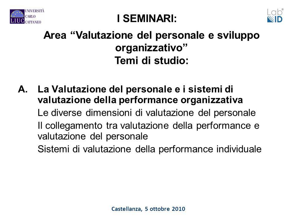 Castellanza, 5 ottobre 2010 I SEMINARI: A.La Valutazione del personale e i sistemi di valutazione della performance organizzativa Le diverse dimension