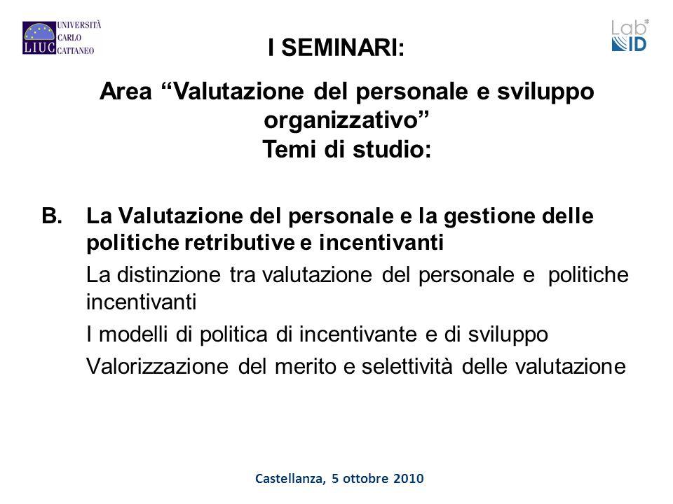 Castellanza, 5 ottobre 2010 I SEMINARI: B.La Valutazione del personale e la gestione delle politiche retributive e incentivanti La distinzione tra val