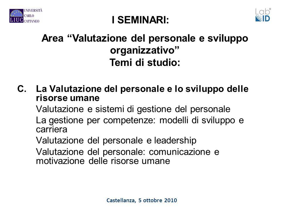Castellanza, 5 ottobre 2010 I SEMINARI: C.La Valutazione del personale e lo sviluppo delle risorse umane Valutazione e sistemi di gestione del persona