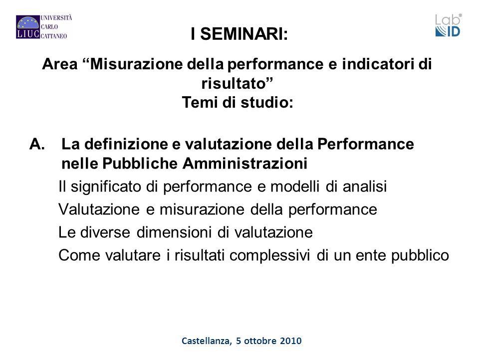 Castellanza, 5 ottobre 2010 I SEMINARI: A.La definizione e valutazione della Performance nelle Pubbliche Amministrazioni Il significato di performance
