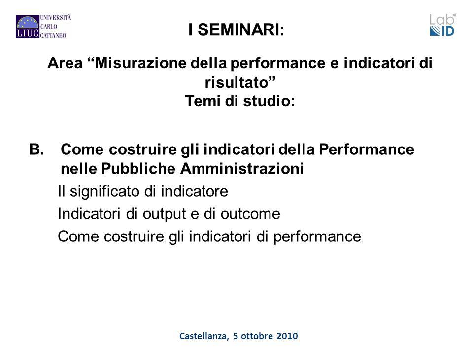Castellanza, 5 ottobre 2010 I SEMINARI: B.Come costruire gli indicatori della Performance nelle Pubbliche Amministrazioni Il significato di indicatore