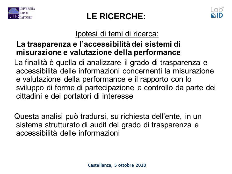 Castellanza, 5 ottobre 2010 LE RICERCHE: Ipotesi di temi di ricerca: La trasparenza e laccessibilità dei sistemi di misurazione e valutazione della pe