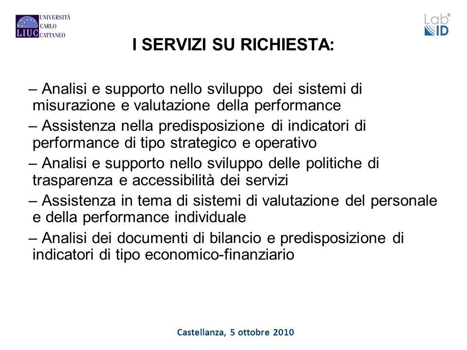 Castellanza, 5 ottobre 2010 I SERVIZI SU RICHIESTA: – Analisi e supporto nello sviluppo dei sistemi di misurazione e valutazione della performance – A
