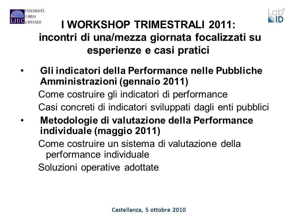 Castellanza, 5 ottobre 2010 I WORKSHOP TRIMESTRALI 2011: incontri di una/mezza giornata focalizzati su esperienze e casi pratici Gli indicatori della