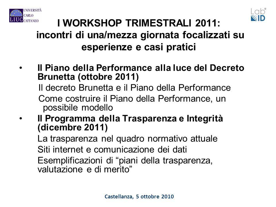Castellanza, 5 ottobre 2010 I WORKSHOP TRIMESTRALI 2011: incontri di una/mezza giornata focalizzati su esperienze e casi pratici Il Piano della Perfor
