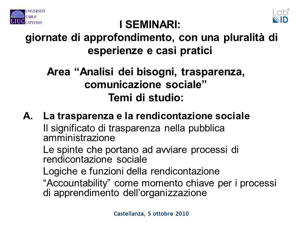 Castellanza, 5 ottobre 2010 I SEMINARI: giornate di approfondimento, con una pluralità di esperienze e casi pratici A.La trasparenza e la rendicontazi