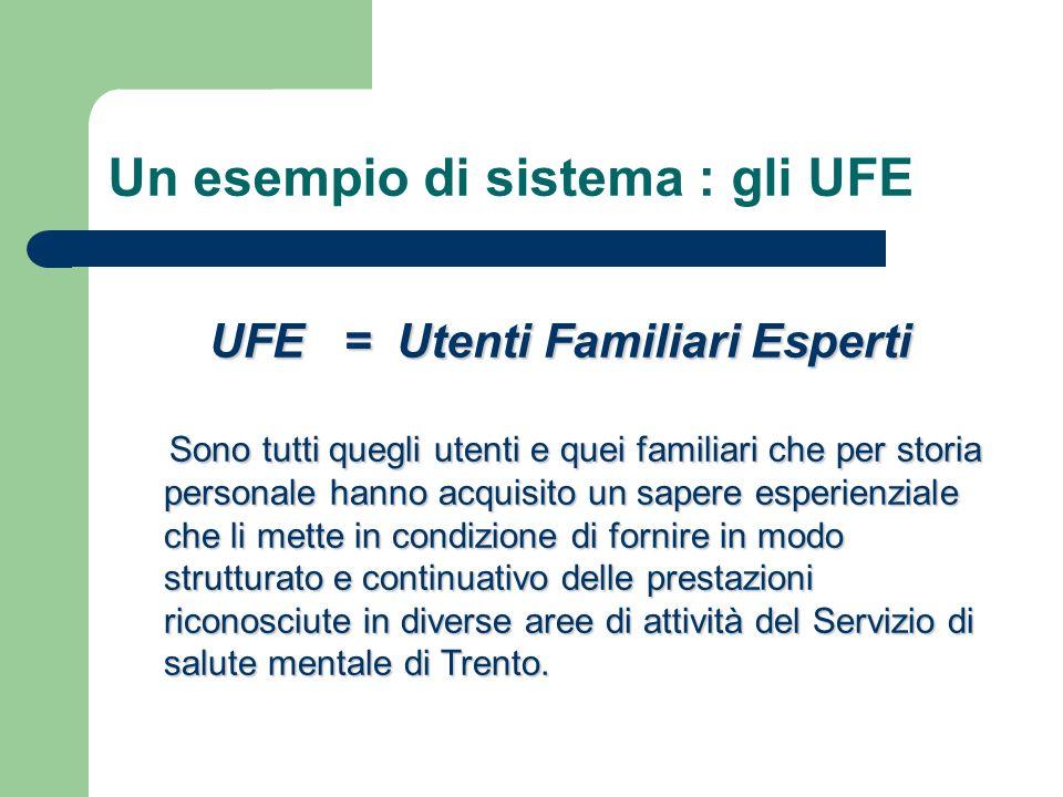 Un esempio di sistema : gli UFE UFE = Utenti Familiari Esperti Sono tutti quegli utenti e quei familiari che per storia personale hanno acquisito un s