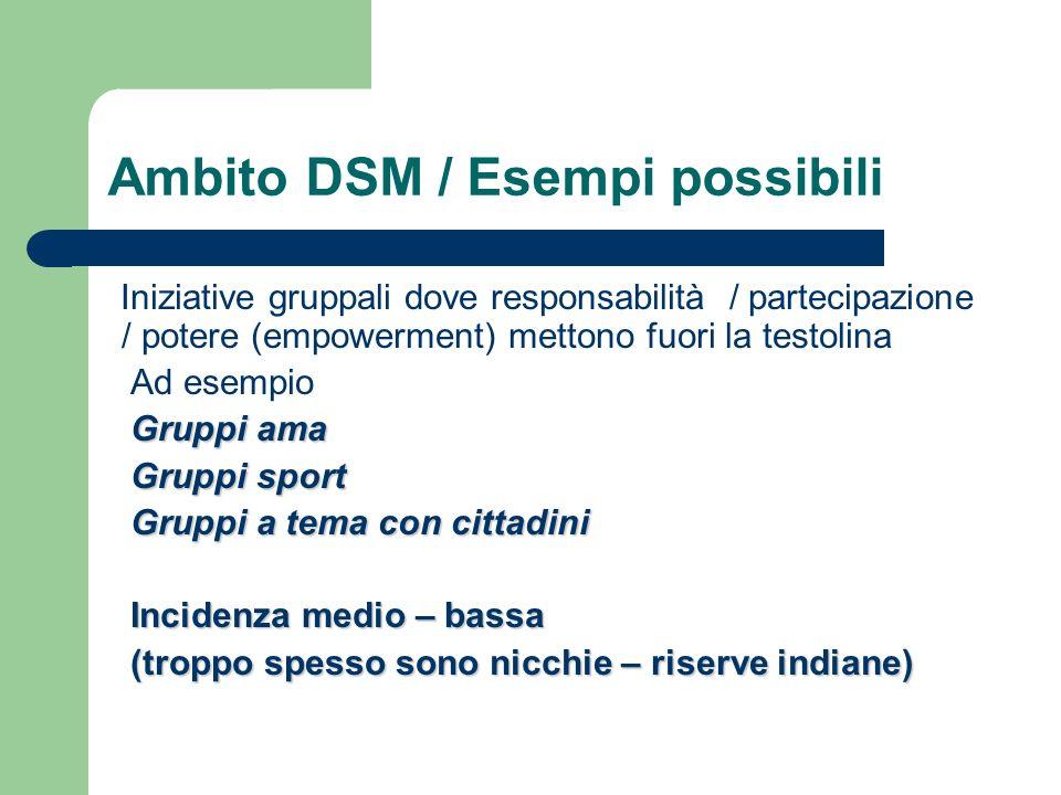 Ambito DSM / Esempi possibili Iniziative gruppali dove responsabilità / partecipazione / potere (empowerment) mettono fuori la testolina Ad esempio Gr