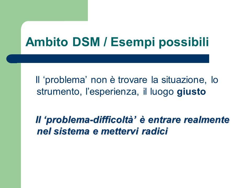 Ambito DSM / Esempi possibili Il problema non è trovare la situazione, lo strumento, lesperienza, il luogo giusto Il problema-difficoltà è entrare rea