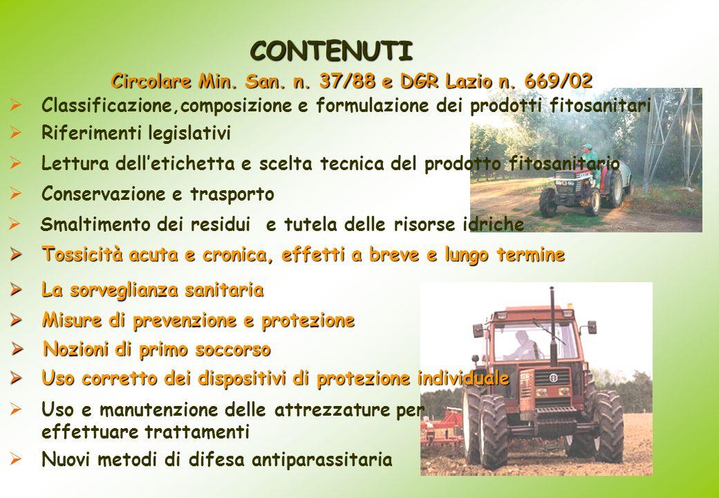 CONTENUTI Conservazione e trasporto Classificazione,composizione e formulazione dei prodotti fitosanitari Smaltimento dei residui e tutela delle risor