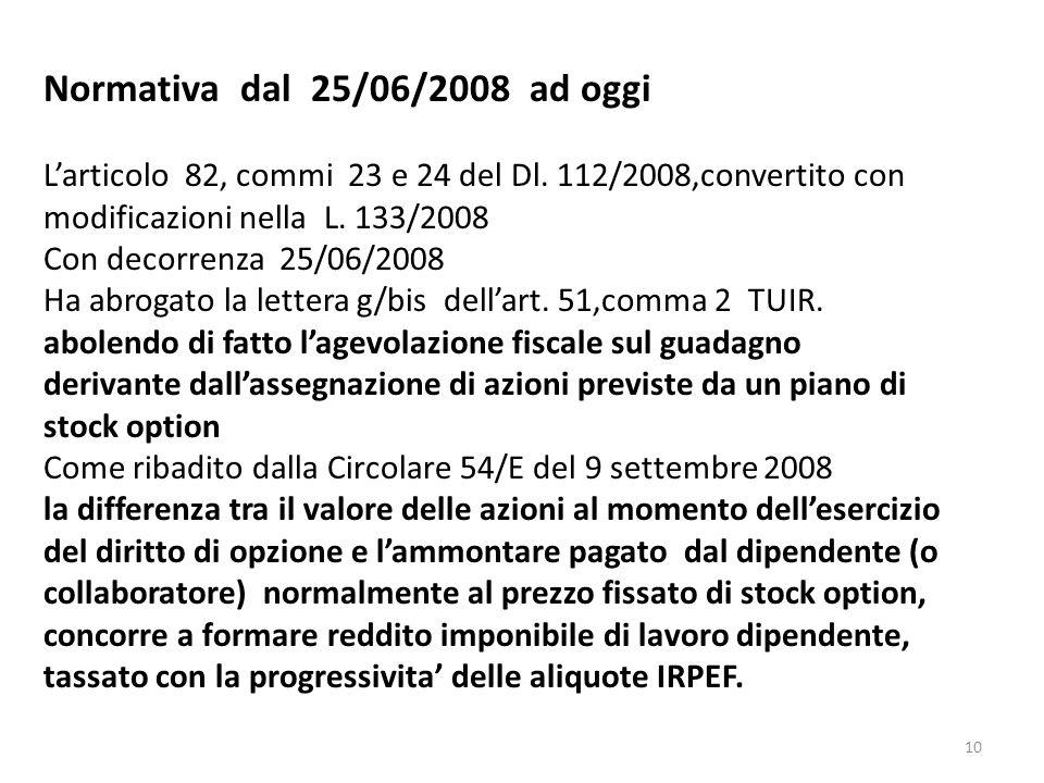 10 Normativa dal 25/06/2008 ad oggi Larticolo 82, commi 23 e 24 del Dl. 112/2008,convertito con modificazioni nella L. 133/2008 Con decorrenza 25/06/2