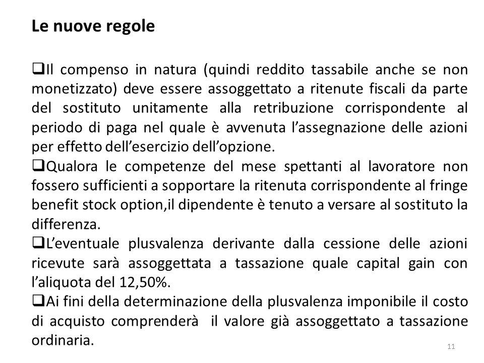 11 Le nuove regole Il compenso in natura (quindi reddito tassabile anche se non monetizzato) deve essere assoggettato a ritenute fiscali da parte del