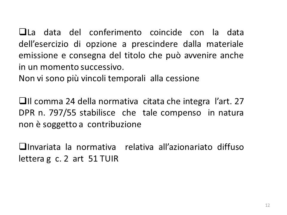 12 La data del conferimento coincide con la data dellesercizio di opzione a prescindere dalla materiale emissione e consegna del titolo che può avveni