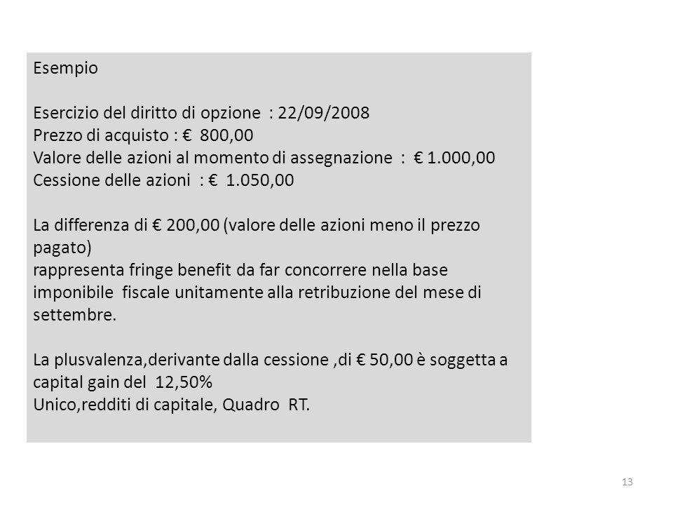 13 Esempio Esercizio del diritto di opzione : 22/09/2008 Prezzo di acquisto : 800,00 Valore delle azioni al momento di assegnazione : 1.000,00 Cession