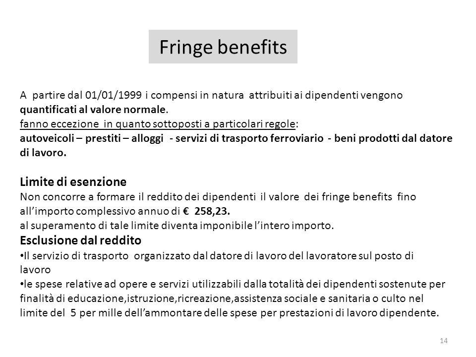 Fringe benefits 14 A partire dal 01/01/1999 i compensi in natura attribuiti ai dipendenti vengono quantificati al valore normale. fanno eccezione in q