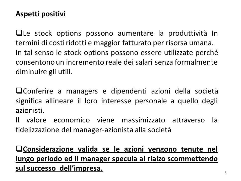 5 Aspetti positivi Le stock options possono aumentare la produttività In termini di costi ridotti e maggior fatturato per risorsa umana. In tal senso