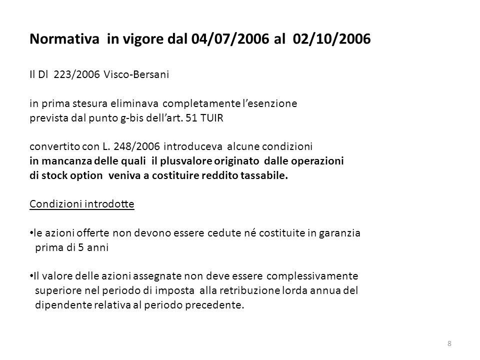8 Normativa in vigore dal 04/07/2006 al 02/10/2006 Il Dl 223/2006 Visco-Bersani in prima stesura eliminava completamente lesenzione prevista dal punto