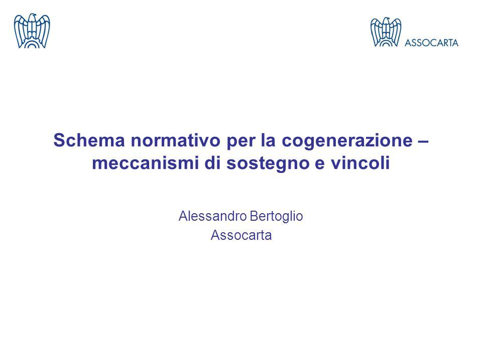 Schema normativo per la cogenerazione – meccanismi di sostegno e vincoli Alessandro Bertoglio Assocarta