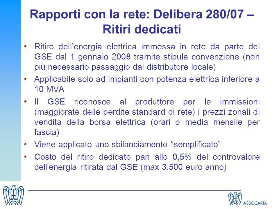 Rapporti con la rete: Delibera 280/07 – Ritiri dedicati Ritiro dellenergia elettrica immessa in rete da parte del GSE dal 1 gennaio 2008 tramite stipu